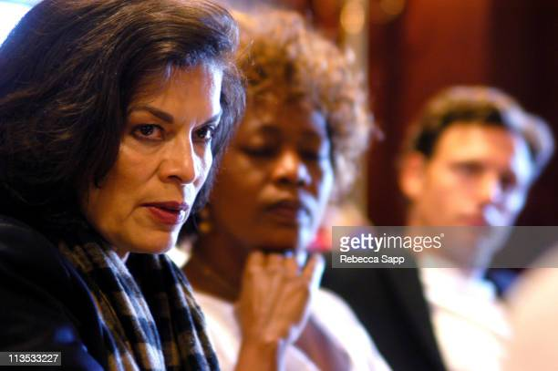Bianca Jagger, Alfre Woodard and Tony Goldwyn during The Creative Coalition's Private Briefing with Senator Barbara Boxer and Charlie Cook at...
