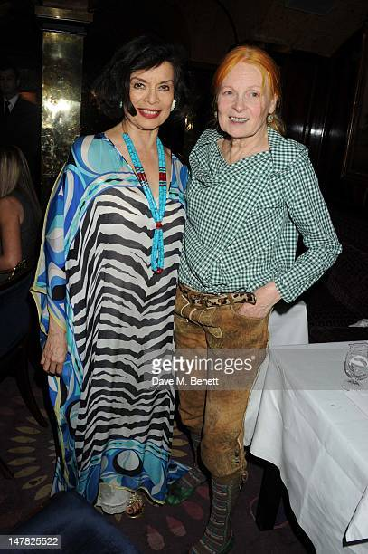 Bianca Jagger and Dame Vivienne Westwood attend artist Tracey Emin's 49th Birthday at Annabels Night Club on July 3 2012 in London England