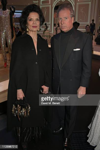 Bianca Jagger and David ArmstrongJones 2nd Earl of Snowdon attend a gala dinner celebrating the opening of the Christian Dior Designer of Dreams...