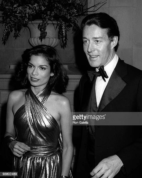 """Bianca Jagger and Halston attend the Metropolitan Museum of Art Costume Institute Exhibition of """"Vanity Fair"""" at the Metropolitan Musem of Art on..."""