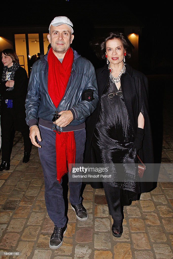 Bianca Jagger (R) and Marc Quinn attend the opening of Thaddaeus Ropac's new gallery on October 13, 2012 in Pantin, France.