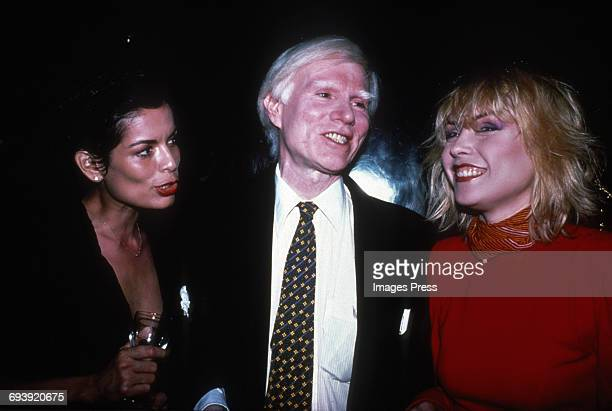 Bianca Jagger Andy Warhol and Debbie Harry circa 1980s in New York City