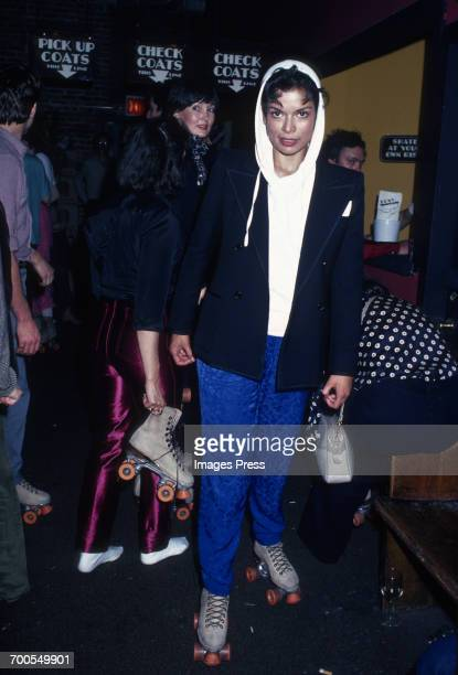 Bianca Jagger at a roller disco circa 1980 in New York City.