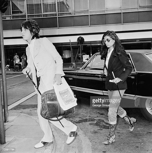 Bianca Jagger at London airport to see off husband Mick Jagger as he leaves for a US tour with the Rolling Stones 24th May 1972