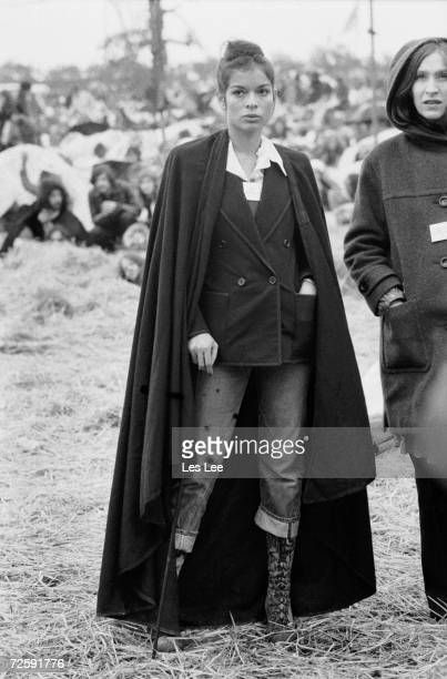 Bianca Jagger at the Bardney pop festival, Lincoln, 27th May 1972.