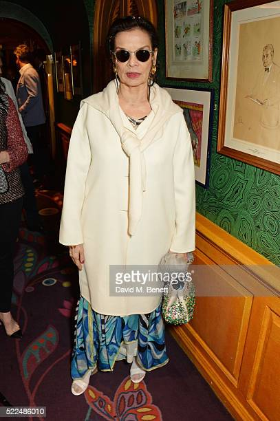Bianca Jagger attends a dinner at Annabel's to celebrate the premiere of 'Mapplethorpe Look At The Pictures' on April 19 2016 in London England