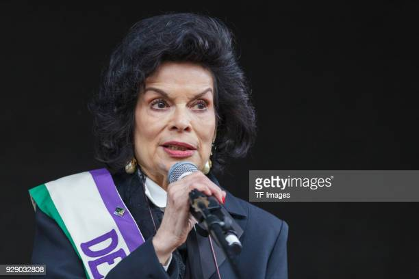 Bianca Jagger attends a march calling for gender equality organised by Care International on March 4 2018 in London England
