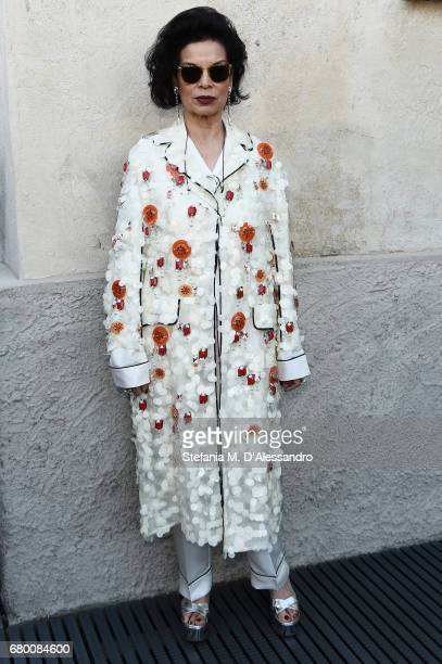 Bianca Jagger attends a 'Private view of 'TV 70 Francesco Vezzoli Guarda La Rai' at Fondazione Prada on May 7 2017 in Milan Italy