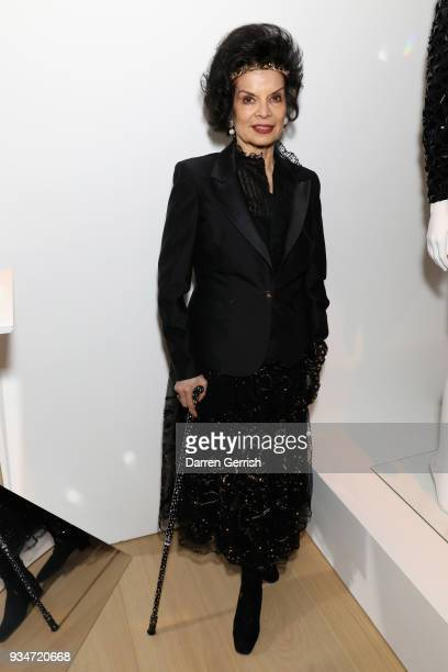 Bianca Jagger attends Atelier Swarovski 10th Anniversary Book Launch at Phillips Gallery on March 19 2018 in London England