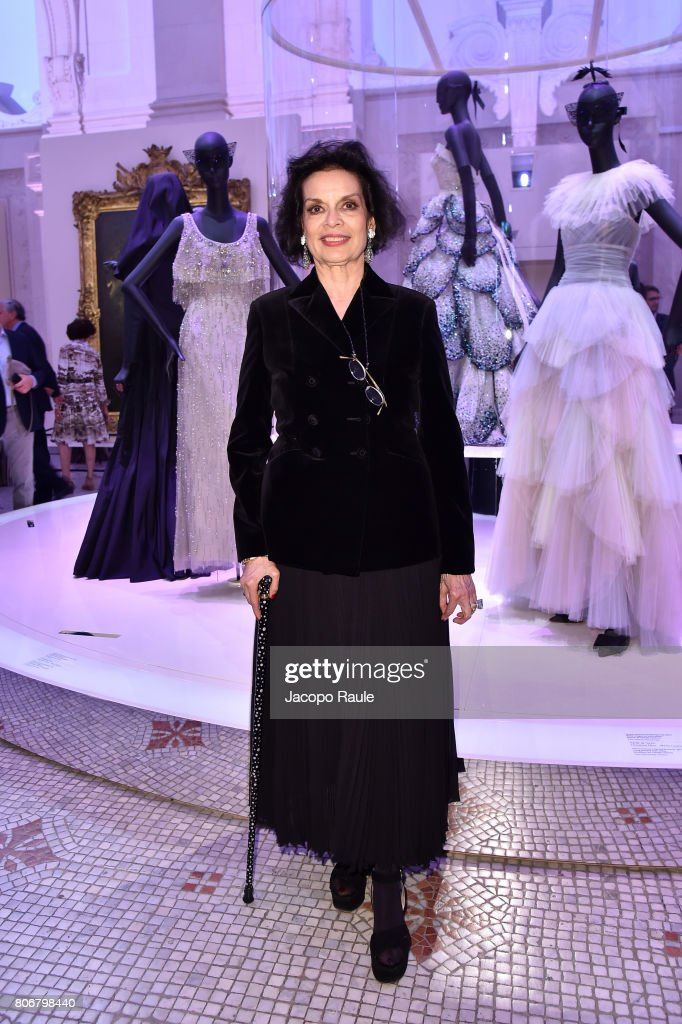 Bianca Jagger attends 'Christian Dior, couturier du reve' Exhibition Launch celebrating 70 years of creation at Musee Des Arts Decoratifs on July 3, 2017 in Paris, France.