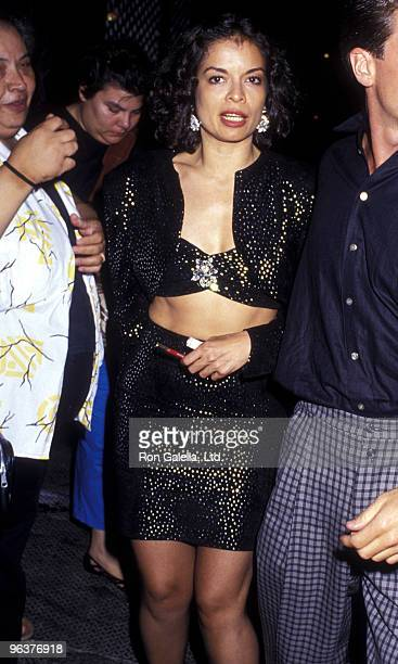Bianca Jagger attends Madonna Concert Party on July 13 1987 at the Gotham Bar and Grill in New York City