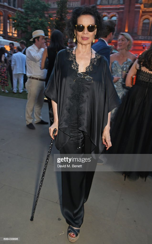 Bianca Jagger attends the 2017 annual V&A Summer Party in partnership with Harrods at the Victoria and Albert Museum on June 21, 2017 in London, England.