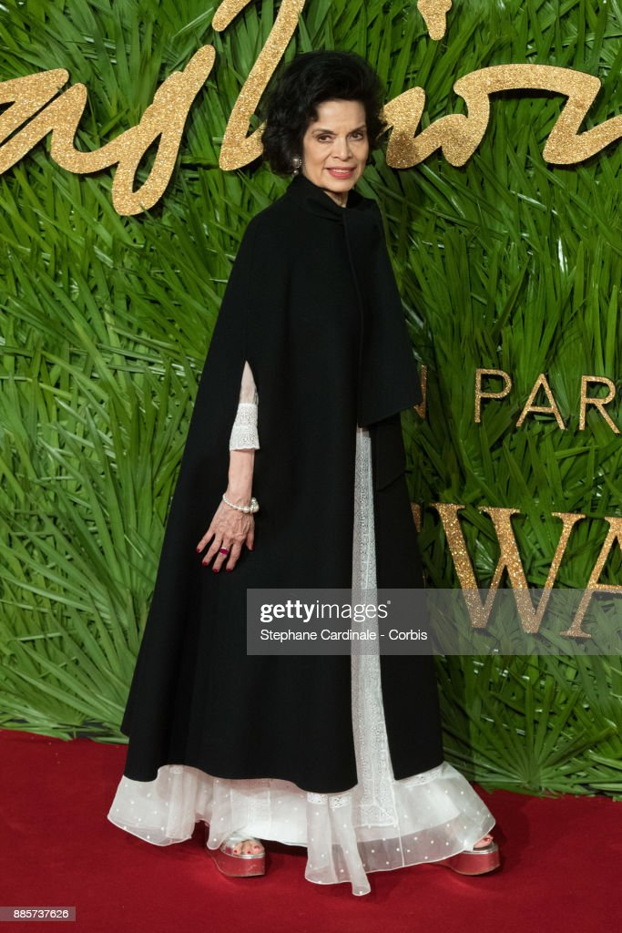 Bianca Jagger attends the Fashion Awards 2017 In Partnership With Swarovski at Royal Albert Hall on December 4, 2017 in London, England.