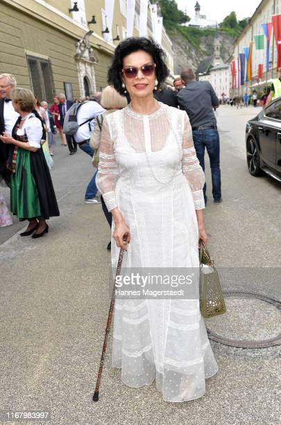 """Bianca Jagger attends the premiere of """"Orphee aux Enfers"""" during the Salzburg Festival at Haus fuer Mozart on August 14, 2019 in Salzburg, Austria."""