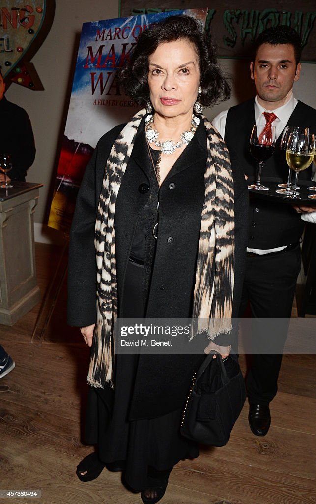 Bianca Jagger attends the VIP Gala Screening of 'Marc Quinn: Making Waves' at the Ham Yard Hotel on October 17, 2014 in London, England.