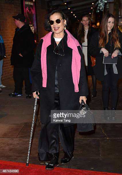 Bianca Jagger attends the VIP night for the Northern Ballets rendition of 'The Great Gatsby' at Sadlers Wells Theatre on March 24, 2015 in London,...