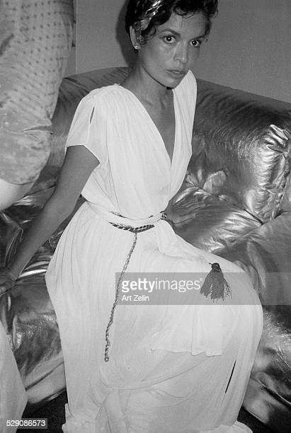 Bianca Jagger in Grecian-style formal dress; circa 1960; New York.