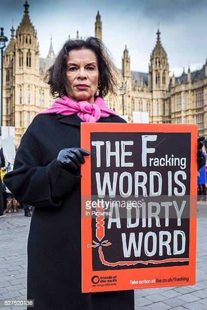 Bianca Jagger joins other antifracking protesters gathered outside parliament while MP's debate the future of shale The protest comes as a group of...