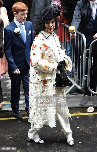 Bianca Jagger leaves after the wedding of Jerry Hall to Rupert Murdoch at St Brides Church Fleet Street on March 5 2016 in London England