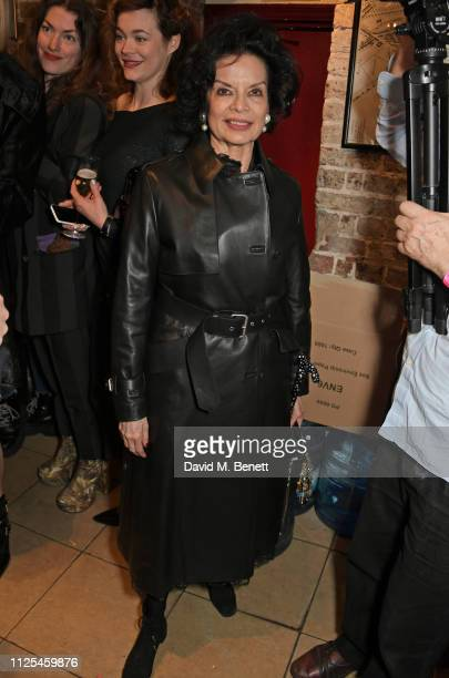 Bianca Jagger poses backstage at the Vivienne Westwood show during London Fashion Week February 2019 on February 17 2019 in London England