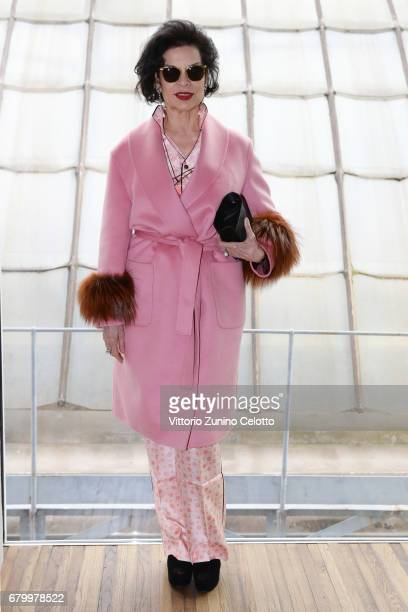 Bianca Jagger while attending the Prada Resort 2018 Womenswear Show in Osservatorio on May 7 2017 in Milan Italy