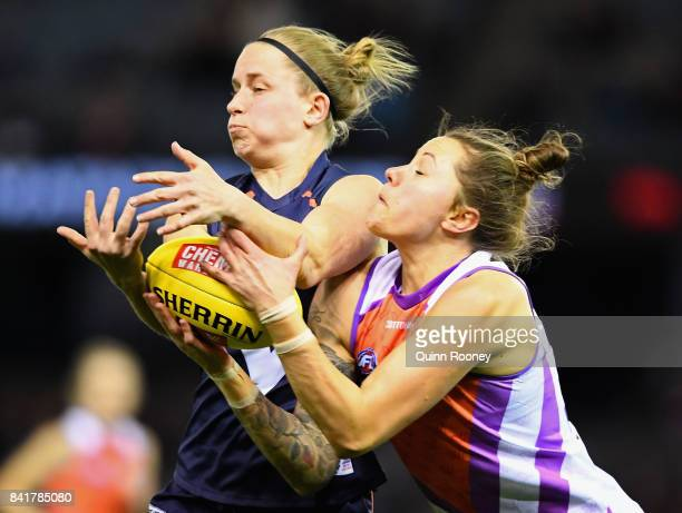 Bianca Jakobbson of the Allies marks during the AFL Women's State of Origin match between Victoria and the Allies at Etihad Stadium on September 2...