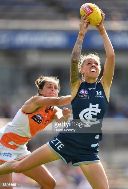 Bianca Jakobsson of the Blues marks during the round two AFL Women's match between the Carlton Blues and the Greater Western Sydney Giants at Ikon...