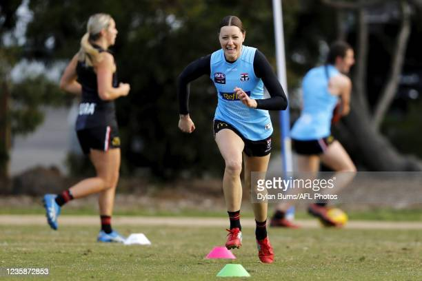 Bianca Jakobsson of the Saints in action during the St Kilda training session at RSEA Park on October 14, 2021 in Melbourne, Australia.