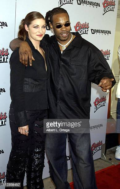 Bianca Kajlich and Busta Rhymes during Halloween Resurrection Premiere at Mann's Festival Theater in Westwood California United States