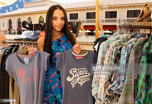 Bianca Lawson poses with Superdry at the Kari Feinstein MTV Movie Awards Style Lounge held at Montage Beverly Hills on June 4 2010 in Beverly Hills...