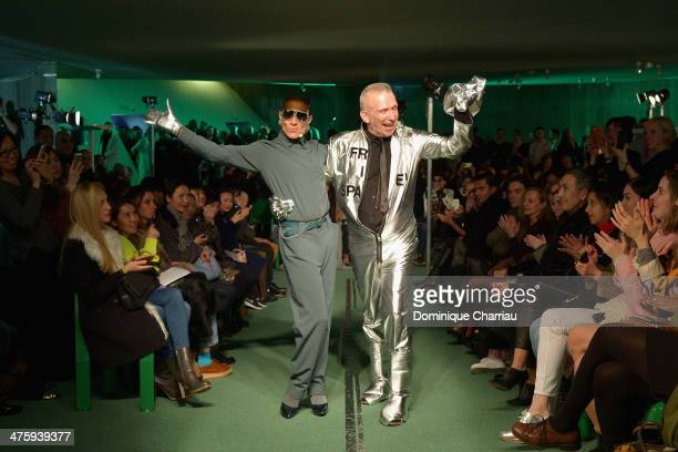 Bianca Li and Jean Paul Gaultier walk the runway during the Jean Paul Gaultier show as part of the Paris Fashion Week Womenswear Fall/Winter 20142015...