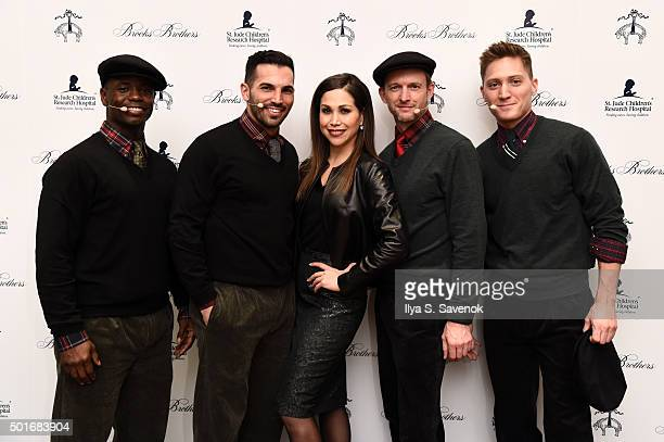 Bianca Marroquin David Bushman Adam Jepsen James Lane and Michael Scirrotto of Broadway's Chicago attend Brooks Brothers holiday celebration with St...