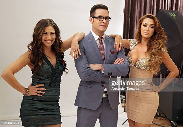 Bianca Marroquin Horacio Villalobos and Ninel Conde is seen backstage at the premiere of Univision's Mira Quien Baila show at Univison Studios on...