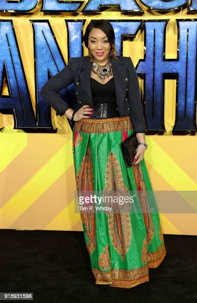 Bianca Miller attends the European Premiere of 'Black Panther' at Eventim Apollo on February 8 2018 in London England