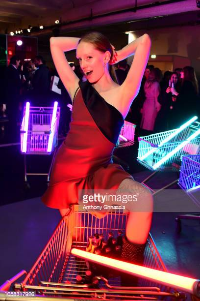 Bianca O'Brien attends MOSCHINO [tv] HM Launch Party at Le Dernier Etage on November 6 2018 in Paris France
