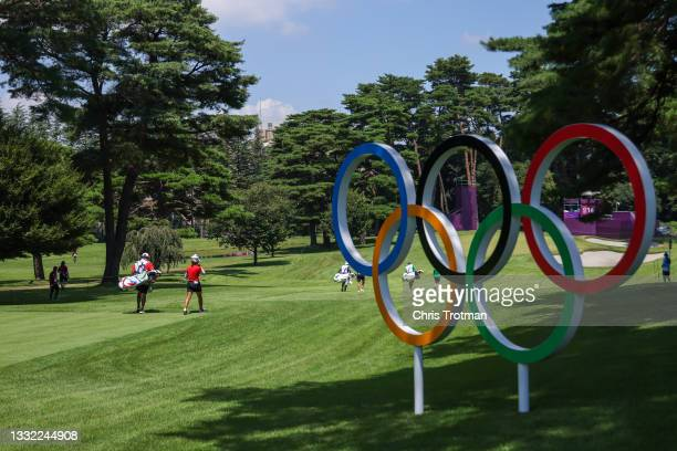 Bianca Pagdanganan of Team Philippines walks the 16th hole during the first round of the Women's Individual Stroke Play on day twelve of the Tokyo...