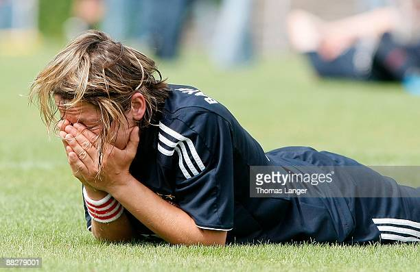 Bianca Rech looks dejected after the Women's Bundesliga match between FC Bayern Muenchen and TSV Crailsheim at the Schoenebuergstadion on June 07...