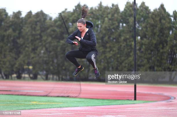 Bianca Routt does interval training on the MIT track in Cambridge MA on March 19 2020 She was just laid off from her jobs as an office manager and a...