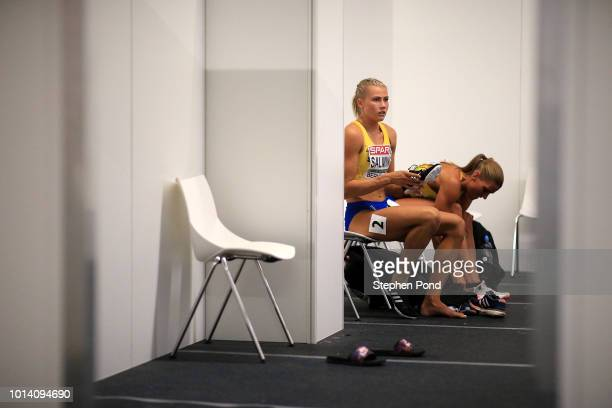Bianca Salming of Sweden prepares in the call room before competing in the Women's Heptathlon 200m during day three of the 24th European Athletics...