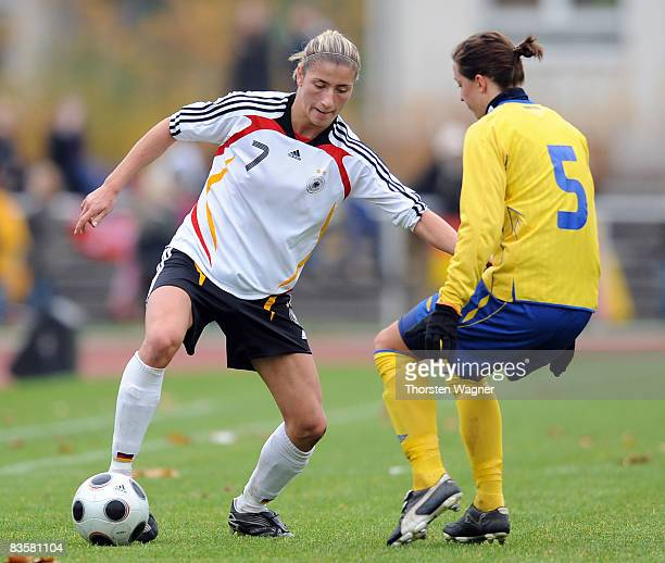 Bianca Schmidt of Germany battles for the ball with Lina Nilson of Sweden during the women international friendly match between U20 Germany and U23...
