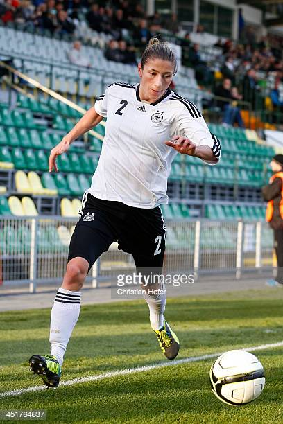 Bianca Schmidt of Germany controls the ball during the FIFA Women's World Cup 2015 Qualifier between Slovakia and Germany at Stadion pod Dubnom on...