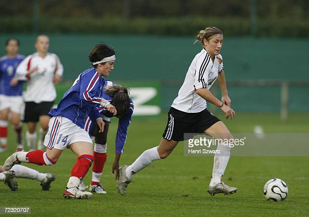 Bianca Schmidt of Germany in action against Caroline La Villa of France during the Women's U17 international friendly match between France and...