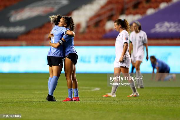 Bianca St. Georges and Sarah Gorden of Chicago Red Stars celebrate after defeating the Sky Blue FC in the semifinal match of the NWSL Challenge Cup...
