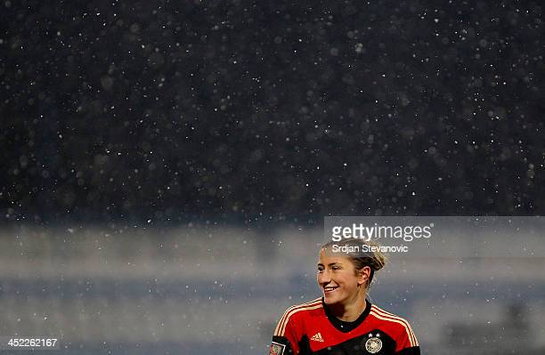 Bianca Ursula Schmidt of Germany smiles during the FIFA Women's World Cup 2015 Qualifier between Croatia and Germany at Stadion Gradski Vrt on...