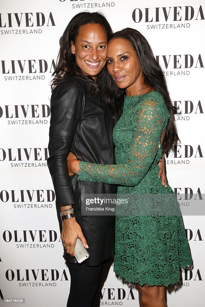 Bianca Vaitl and Barbara Becker attend the OLIVEDA - Launch Party at Bayerischer Hof on October 15, 2013 in Munich, Germany.