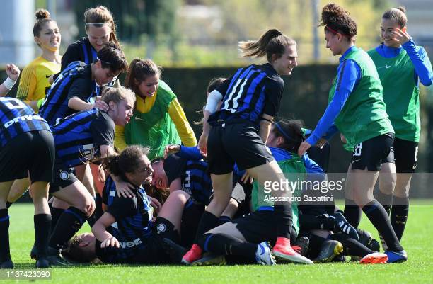 Bianca Vergani of FC Internazionale U19 Women celebrates after scoring the opening goal with team mates during the Serie A Primavera Final Four first...