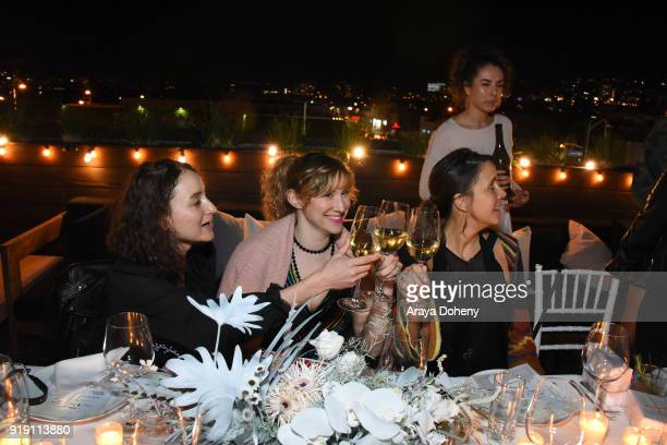 Bianca Vesquez Sarah Loyer and Andrea Corradini attend the Flaunt Magazine Dinner with Nike and Revolve on February 15 2018 in Los Angeles California