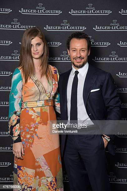 Bianca Vitali and actor Stefano Accorsi attends JaegerLeCoultre New Boutique Opening Gala on June 11 2015 in Florence Italy