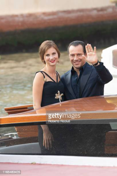 Bianca Vitali and Stefano Accorsi are seen arriving at the 76th Venice Film Festival on September 1 2019 in Venice Italy