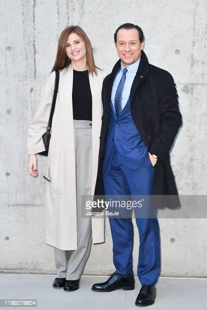 Bianca Vitali and Stefano Accorsi are seen at the Giorgio Armani fashion show on January 13 2020 in Milan Italy